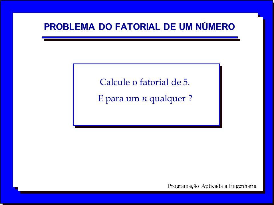 Programação Aplicada a Engenharia PROBLEMA DO FATORIAL DE UM NÚMERO Calcule o fatorial de 5. E para um n qualquer ?