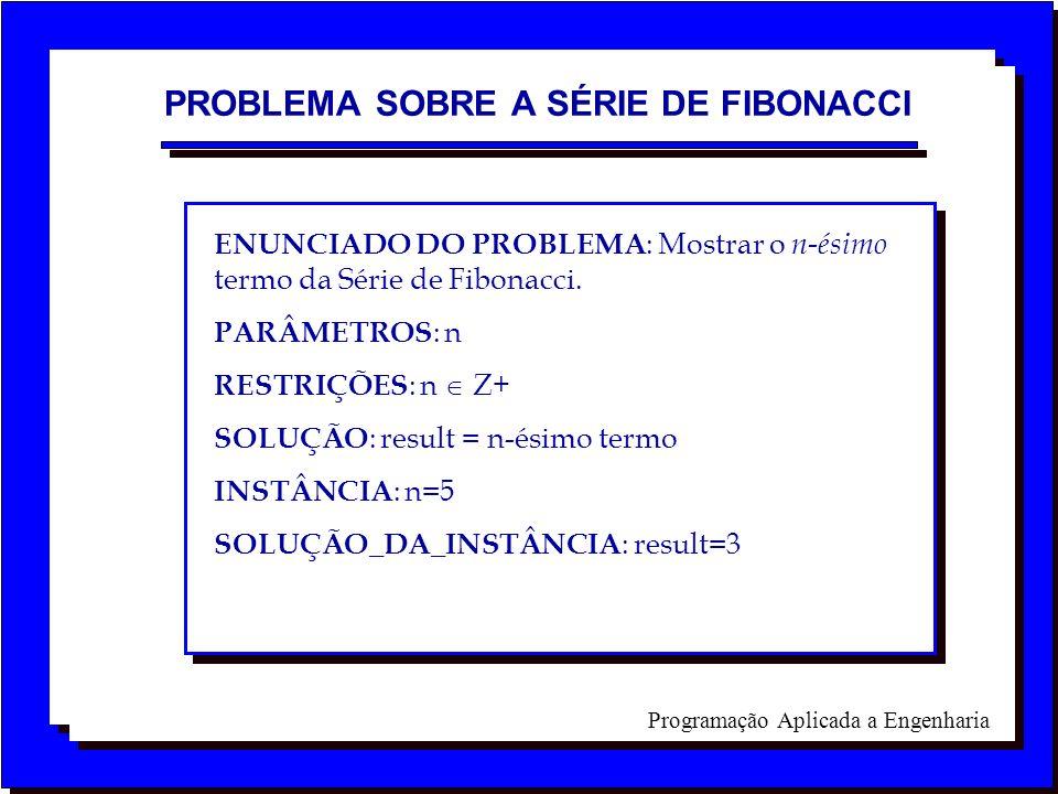 Programação Aplicada a Engenharia ENUNCIADO DO PROBLEMA : Mostrar o n-ésimo termo da Série de Fibonacci. PARÂMETROS : n RESTRIÇÕES : n Z+ SOLUÇÃO : re