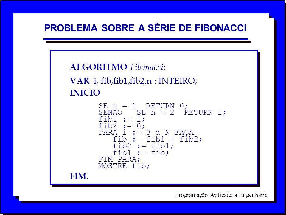 Programação Aplicada a Engenharia ALGORITMO Fibonacci ; VAR i, fib,fib1,fib2,n : INTEIRO; INICIO SE n = 1 RETURN 0; SENAO SE n = 2 RETURN 1; fib1 := 1