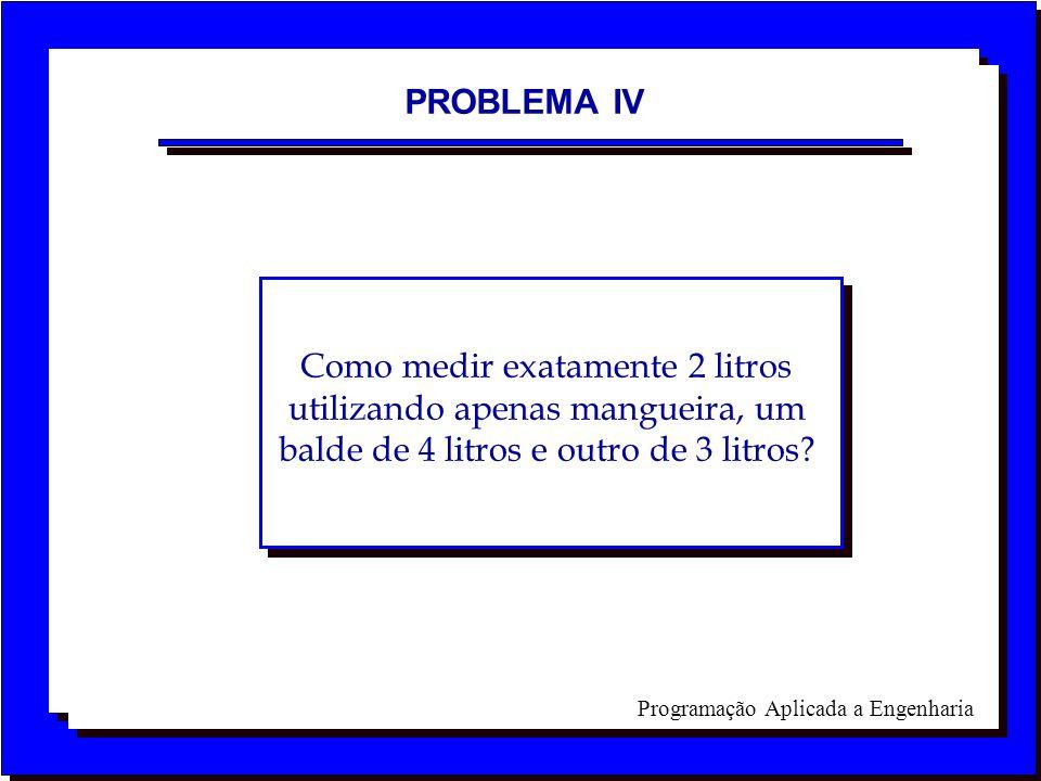 Programação Aplicada a Engenharia PROBLEMA IV Como medir exatamente 2 litros utilizando apenas mangueira, um balde de 4 litros e outro de 3 litros?