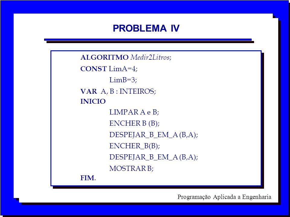 Programação Aplicada a Engenharia PROBLEMA IV ALGORITMO Medir2Litros ; CONST LimA=4; LimB=3; VAR A, B : INTEIROS; INICIO LIMPAR A e B; ENCHER B (B); D