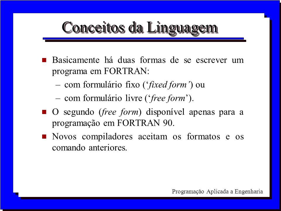 Programação Aplicada a Engenharia Conceitos da Linguagem n Basicamente há duas formas de se escrever um programa em FORTRAN: –com formulário fixo (fix
