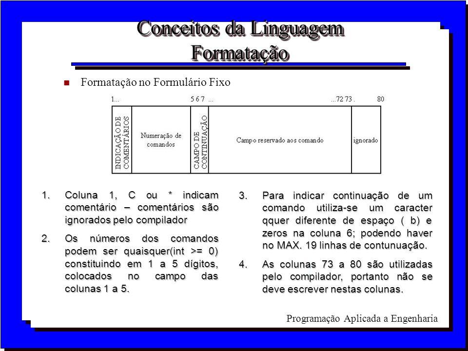 Programação Aplicada a Engenharia Conceitos da Linguagem Formatação n Formatação no Formulário Fixo 1.Coluna 1, C ou * indicam comentário – comentário