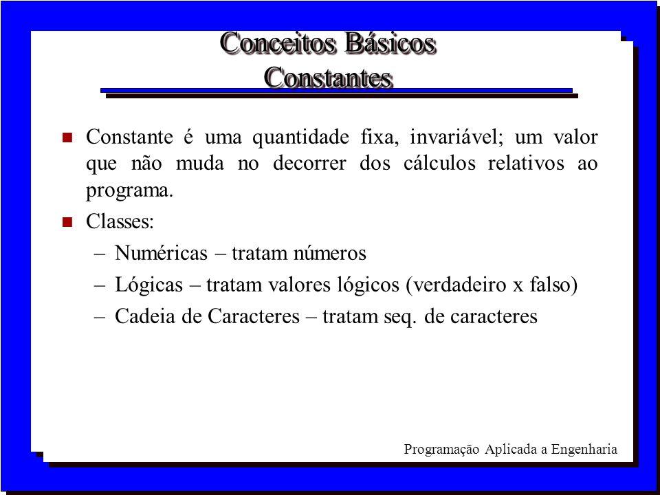 Programação Aplicada a Engenharia Conceitos Básicos Constantes n Constante é uma quantidade fixa, invariável; um valor que não muda no decorrer dos cá