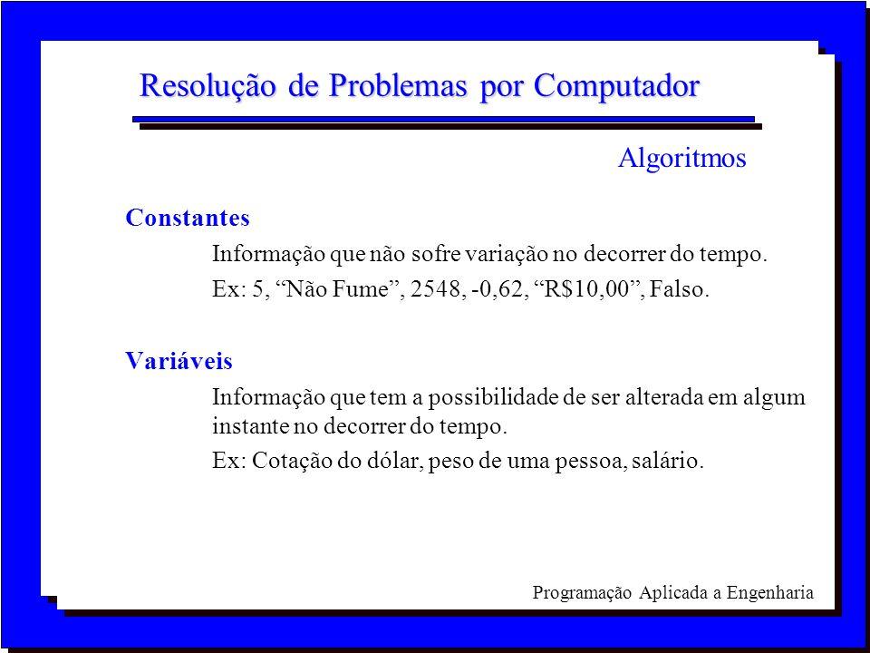 Programação Aplicada a Engenharia Resolução de Problemas por Computador Constantes Informação que não sofre variação no decorrer do tempo. Ex: 5, Não