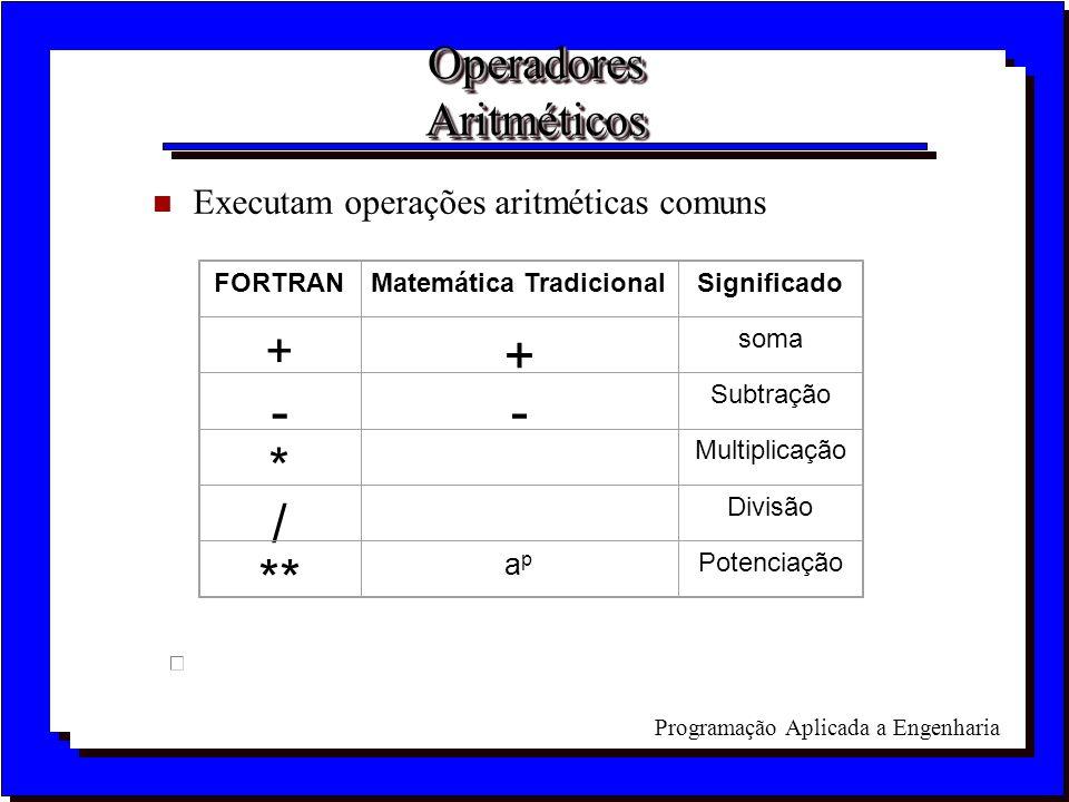 Programação Aplicada a Engenharia Operadores Aritméticos n Executam operações aritméticas comuns FORTRANMatemática TradicionalSignificado + + soma --