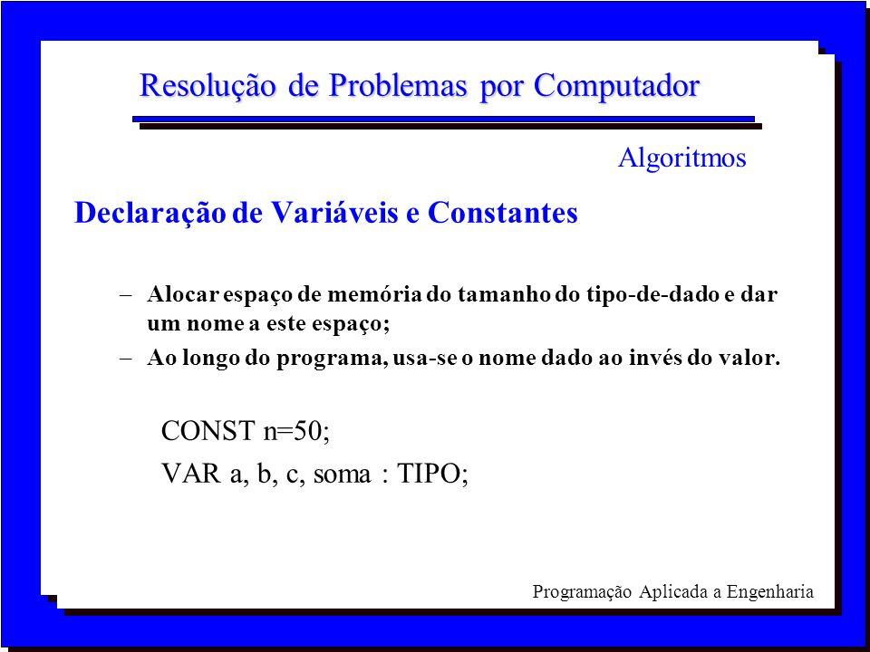 Programação Aplicada a Engenharia Resolução de Problemas por Computador Declaração de Variáveis e Constantes –Alocar espaço de memória do tamanho do t