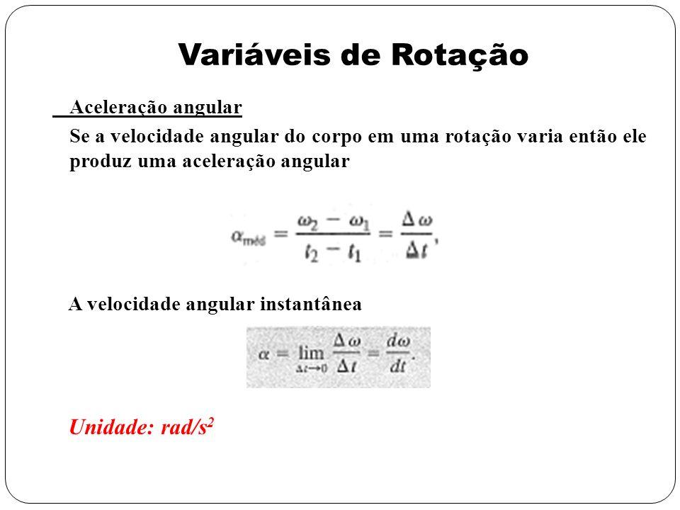 Variáveis de Rotação Aceleração angular Se a velocidade angular do corpo em uma rotação varia então ele produz uma aceleração angular A velocidade ang