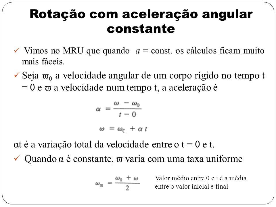 Rotação com aceleração angular constante Vimos no MRU que quando a = const. os cálculos ficam muito mais fáceis. Seja 0 a velocidade angular de um cor