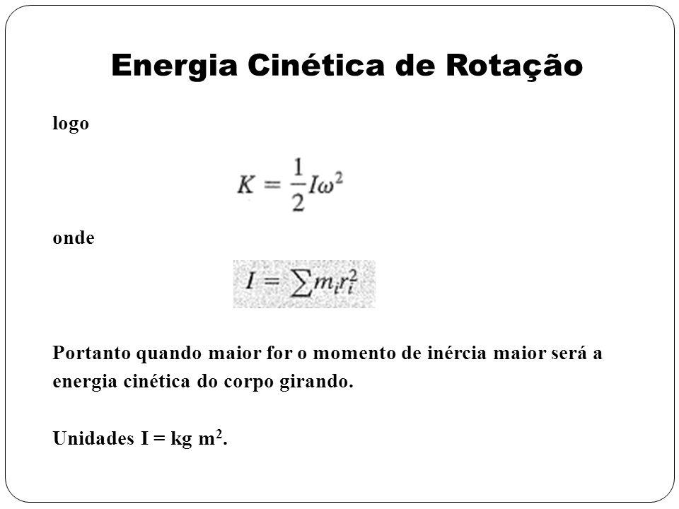 logo onde Portanto quando maior for o momento de inércia maior será a energia cinética do corpo girando. Unidades I = kg m 2. Energia Cinética de Rota