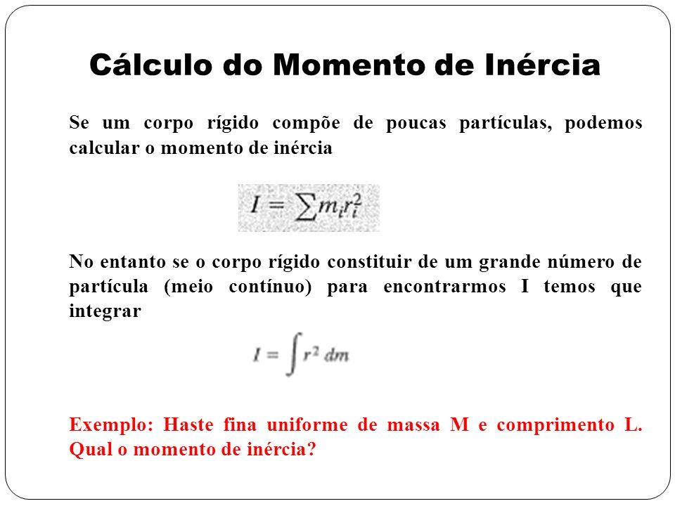 Se um corpo rígido compõe de poucas partículas, podemos calcular o momento de inércia No entanto se o corpo rígido constituir de um grande número de p