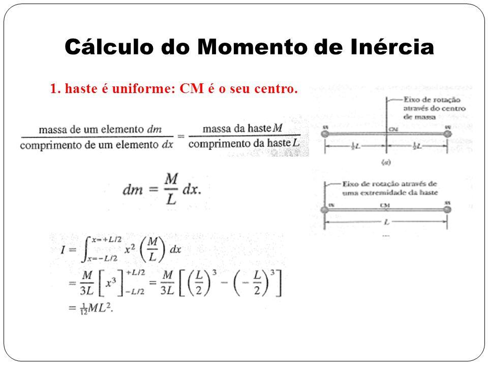 1. haste é uniforme: CM é o seu centro. Cálculo do Momento de Inércia