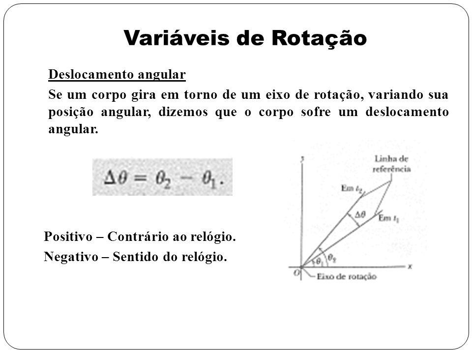 Variáveis de Rotação Deslocamento angular Se um corpo gira em torno de um eixo de rotação, variando sua posição angular, dizemos que o corpo sofre um