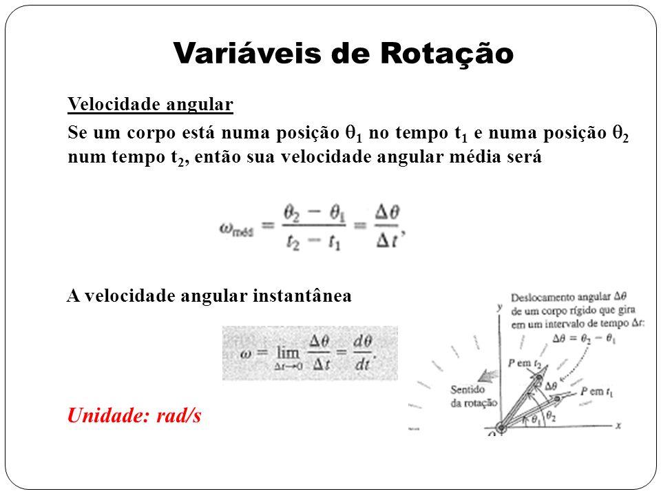 Variáveis de Rotação Velocidade angular Se um corpo está numa posição 1 no tempo t 1 e numa posição 2 num tempo t 2, então sua velocidade angular médi