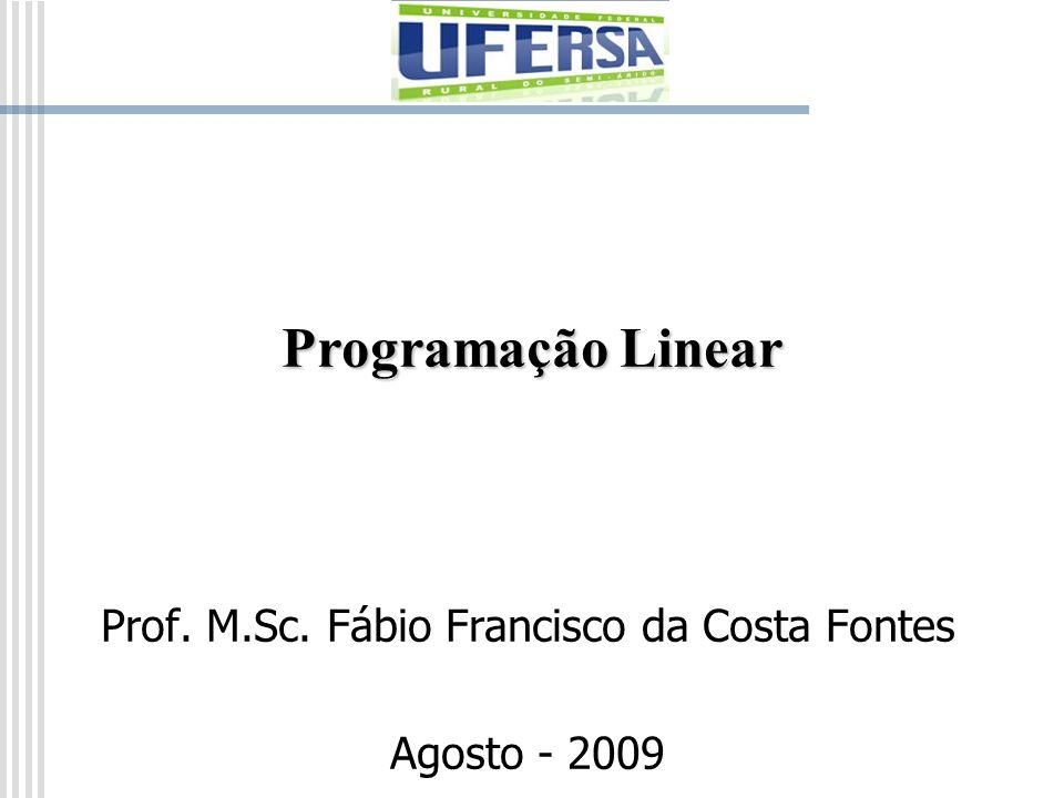 Programação Linear Prof. M.Sc. Fábio Francisco da Costa Fontes Agosto - 2009
