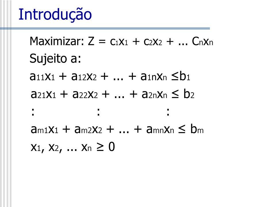 Introdução Maximizar: Z = c 1 x 1 + c 2 x 2 +... C n x n Sujeito a: a 11 x 1 + a 12 x 2 +... + a 1 n x n b 1 a 21 x 1 + a 22 x 2 +... + a 2n x n b 2 :