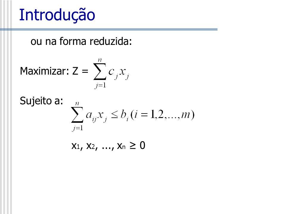Introdução ou na forma matricial, equivalentemente Max C T x s.a: Ax b x0 Onde A mxn matriz, e