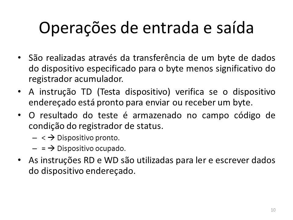 Operações de entrada e saída São realizadas através da transferência de um byte de dados do dispositivo especificado para o byte menos significativo d