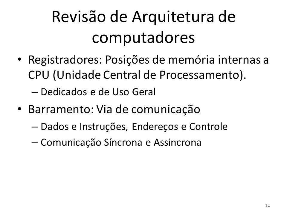 Revisão de Arquitetura de computadores Registradores: Posições de memória internas a CPU (Unidade Central de Processamento). – Dedicados e de Uso Gera