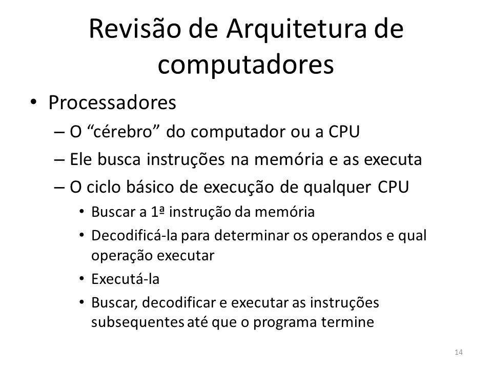 Revisão de Arquitetura de computadores Processadores – O cérebro do computador ou a CPU – Ele busca instruções na memória e as executa – O ciclo básic