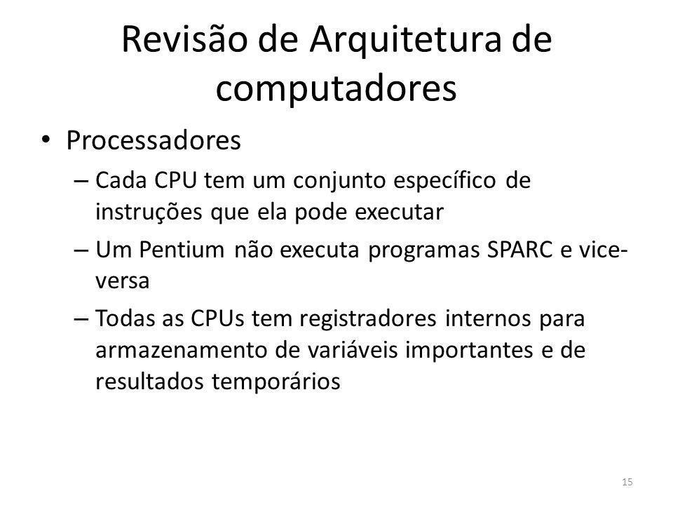 Revisão de Arquitetura de computadores Processadores – Cada CPU tem um conjunto específico de instruções que ela pode executar – Um Pentium não execut