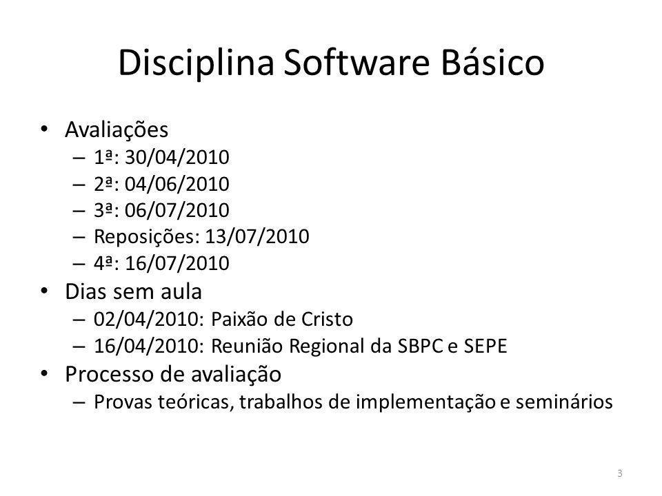Disciplina Software Básico Avaliações – 1ª: 30/04/2010 – 2ª: 04/06/2010 – 3ª: 06/07/2010 – Reposições: 13/07/2010 – 4ª: 16/07/2010 Dias sem aula – 02/
