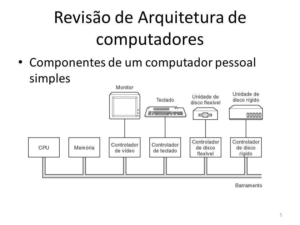 Revisão de Arquitetura de computadores Organização de um computador (Modelo de Von Neumann - 1945) – Conceito de programa armazenado – Separação da Unidade Aritmética e de Controle – Utilização de barramentos e registradores – Hardware de entrada e saída (I/O) Modelo de Harvard – Separação de barramentos de dados das memórias onde estão as instruções de programa e das memórias de dados – O processador pode acessar as 2 simultaneamente 6