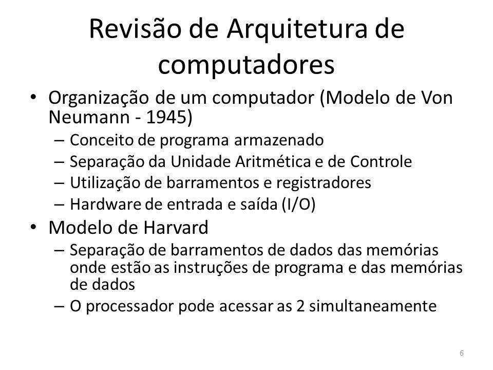 Revisão de Arquitetura de computadores Organização de um computador (Modelo de Von Neumann - 1945) – Conceito de programa armazenado – Separação da Un