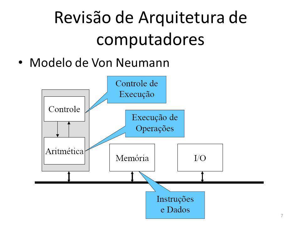 Revisão de Arquitetura de computadores Processadores – Outro registrador é o PSW (program status word) Contém os bits do código de condições, os quais são alterados pelas instruções de comparação, pelo nível de prioridade da CPU, pelo modo de execução (núcleo ou usuário) e por outros bits de controle Programas de usuário podem ler toda a PSW, mas em geral são capazes de alterar somente alguns de seus campos 18