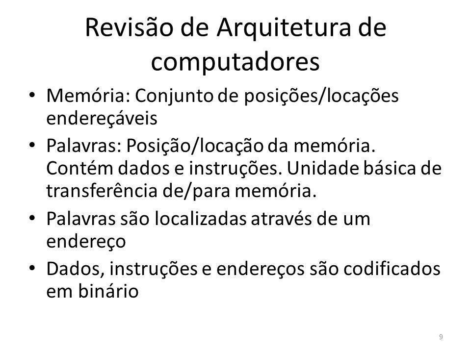 Revisão de Arquitetura de computadores Memória: Conjunto de posições/locações endereçáveis Palavras: Posição/locação da memória. Contém dados e instru