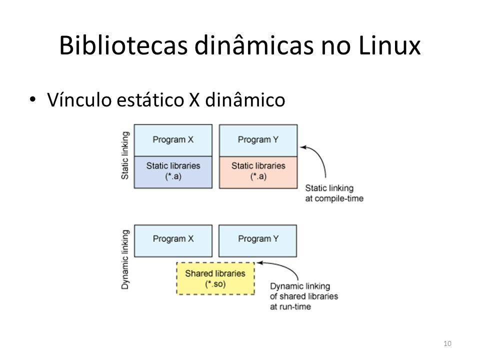 Bibliotecas dinâmicas no Linux Vínculo estático X dinâmico 10