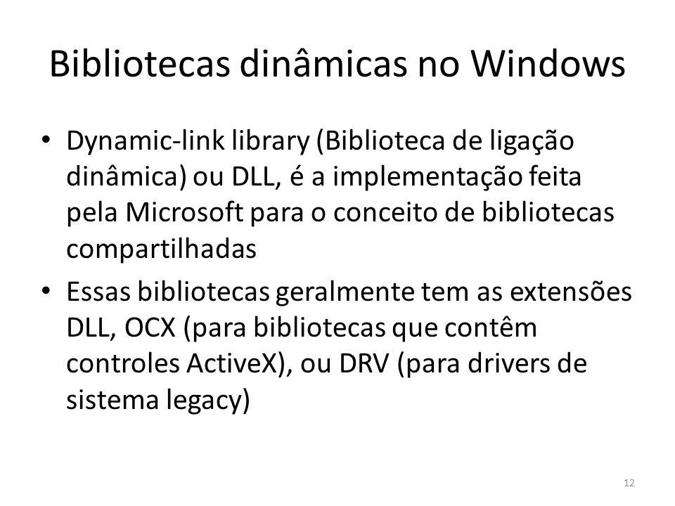 Bibliotecas dinâmicas no Windows Dynamic-link library (Biblioteca de ligação dinâmica) ou DLL, é a implementação feita pela Microsoft para o conceito