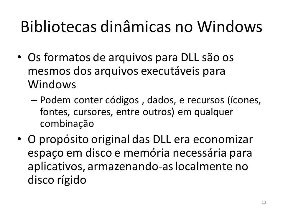Bibliotecas dinâmicas no Windows Os formatos de arquivos para DLL são os mesmos dos arquivos executáveis para Windows – Podem conter códigos, dados, e