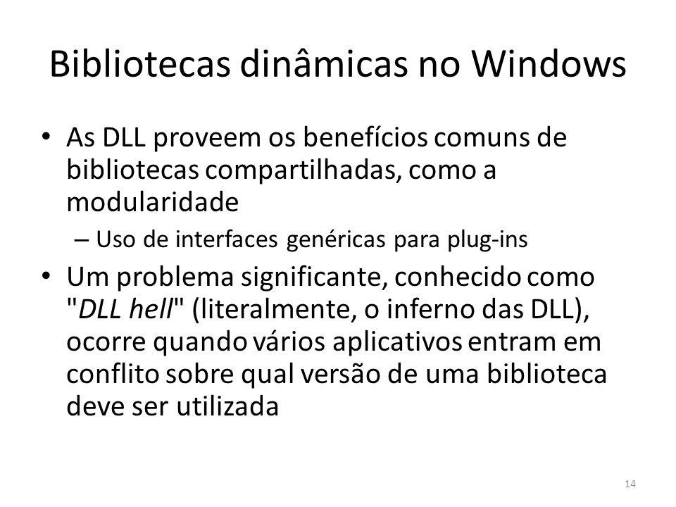 Bibliotecas dinâmicas no Windows As DLL proveem os benefícios comuns de bibliotecas compartilhadas, como a modularidade – Uso de interfaces genéricas