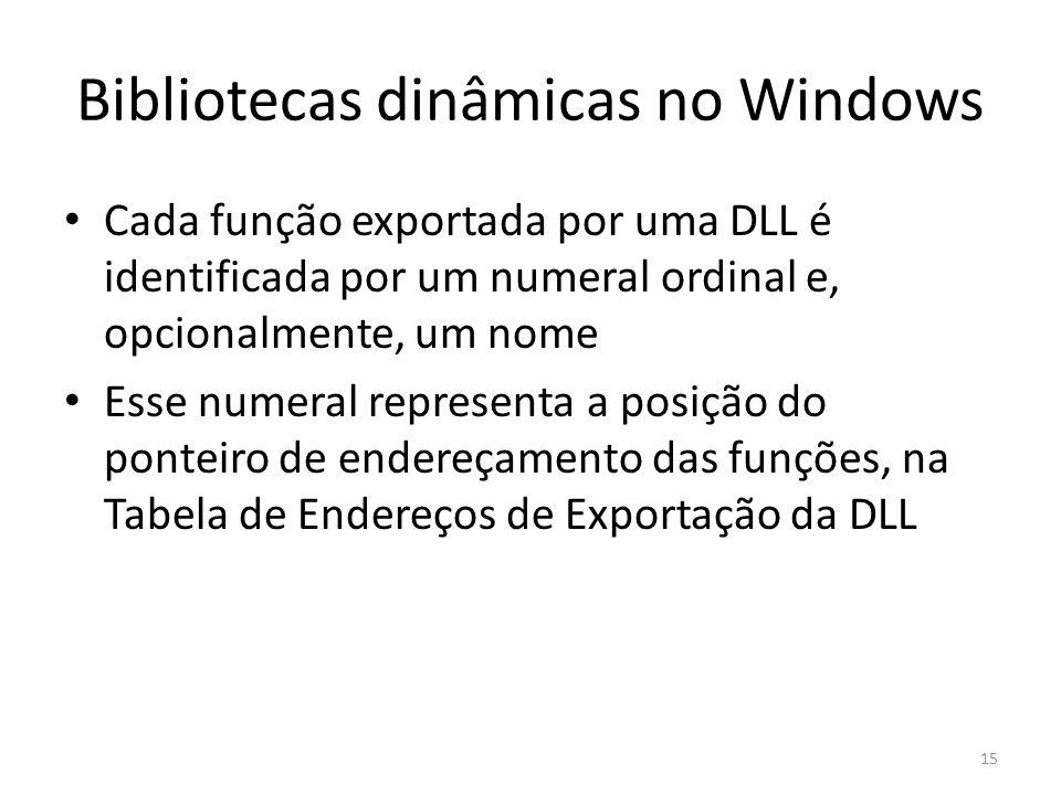 Bibliotecas dinâmicas no Windows Cada função exportada por uma DLL é identificada por um numeral ordinal e, opcionalmente, um nome Esse numeral repres