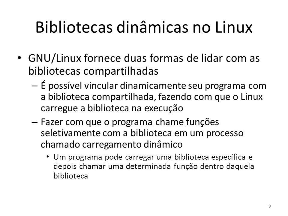 Bibliotecas dinâmicas no Linux GNU/Linux fornece duas formas de lidar com as bibliotecas compartilhadas – É possível vincular dinamicamente seu progra