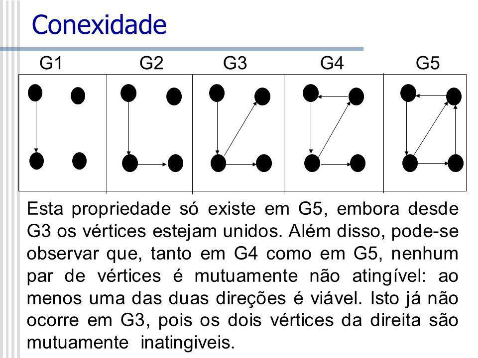 Conexidade G1 G2 G3G4G5 Esta propriedade só existe em G5, embora desde G3 os vértices estejam unidos. Além disso, pode-se observar que, tanto em G4 co