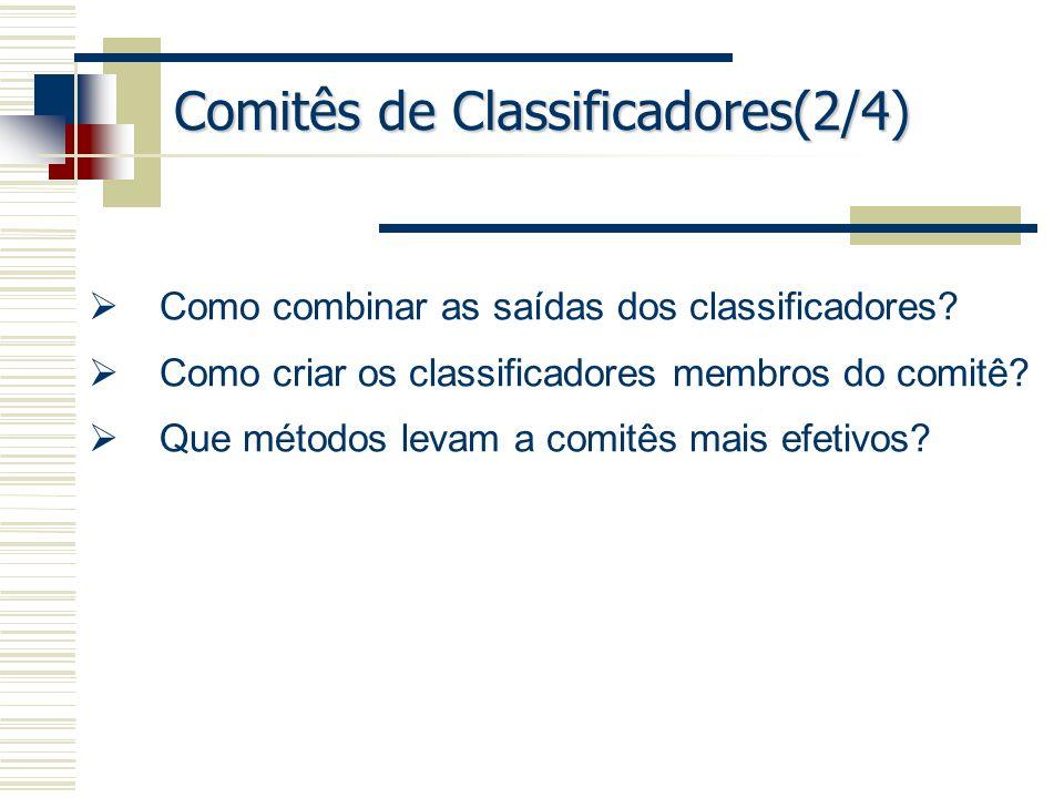 Comitês de Classificadores(2/4) Como combinar as saídas dos classificadores? Como criar os classificadores membros do comitê? Que métodos levam a comi