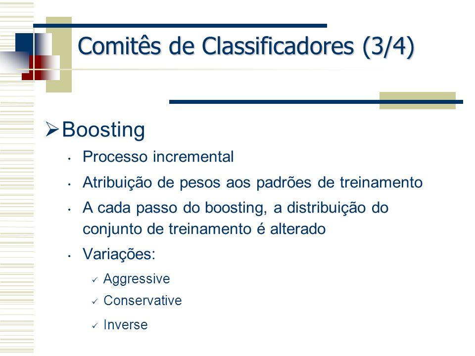 Comitês de Classificadores (3/4) Boosting Processo incremental Atribuição de pesos aos padrões de treinamento A cada passo do boosting, a distribuição