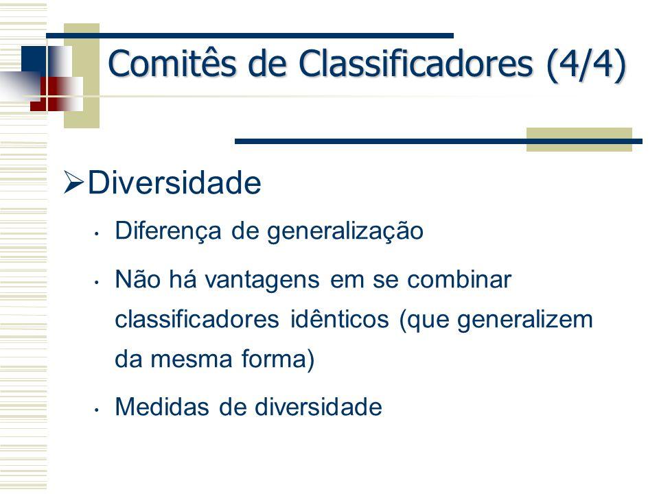 Comitês de Classificadores (4/4) Diversidade Diferença de generalização Não há vantagens em se combinar classificadores idênticos (que generalizem da