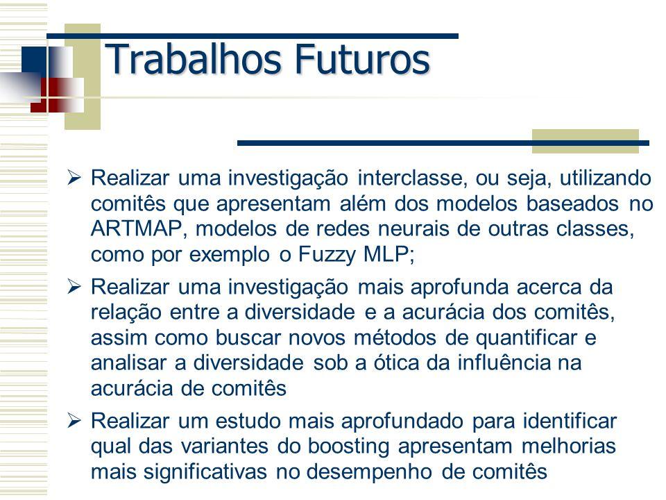 Trabalhos Futuros Realizar uma investigação interclasse, ou seja, utilizando comitês que apresentam além dos modelos baseados no ARTMAP, modelos de re