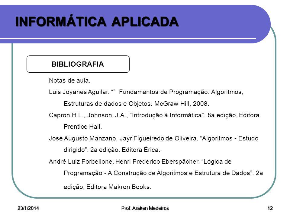 23/1/2014 Prof. Araken Medeiros 11 INFORMÁTICA APLICADA ATENDIMENTO Quartas/Quintas/Sextas E-mail: araken@ufersa.edu.br