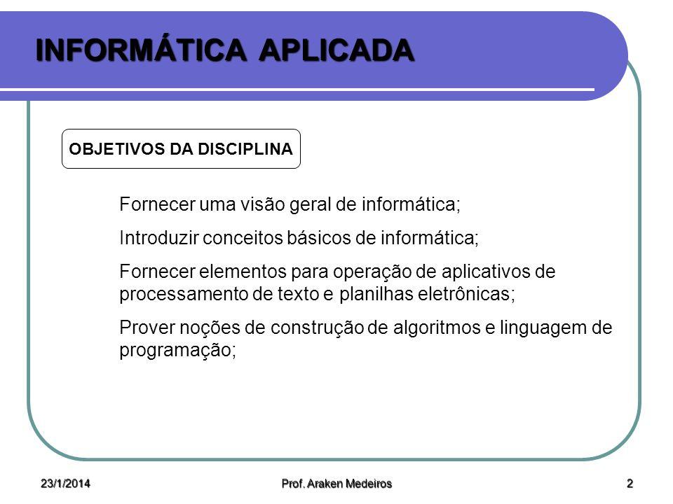 23/1/2014 Prof.Araken Medeiros 12 INFORMÁTICA APLICADA BIBLIOGRAFIA Notas de aula.
