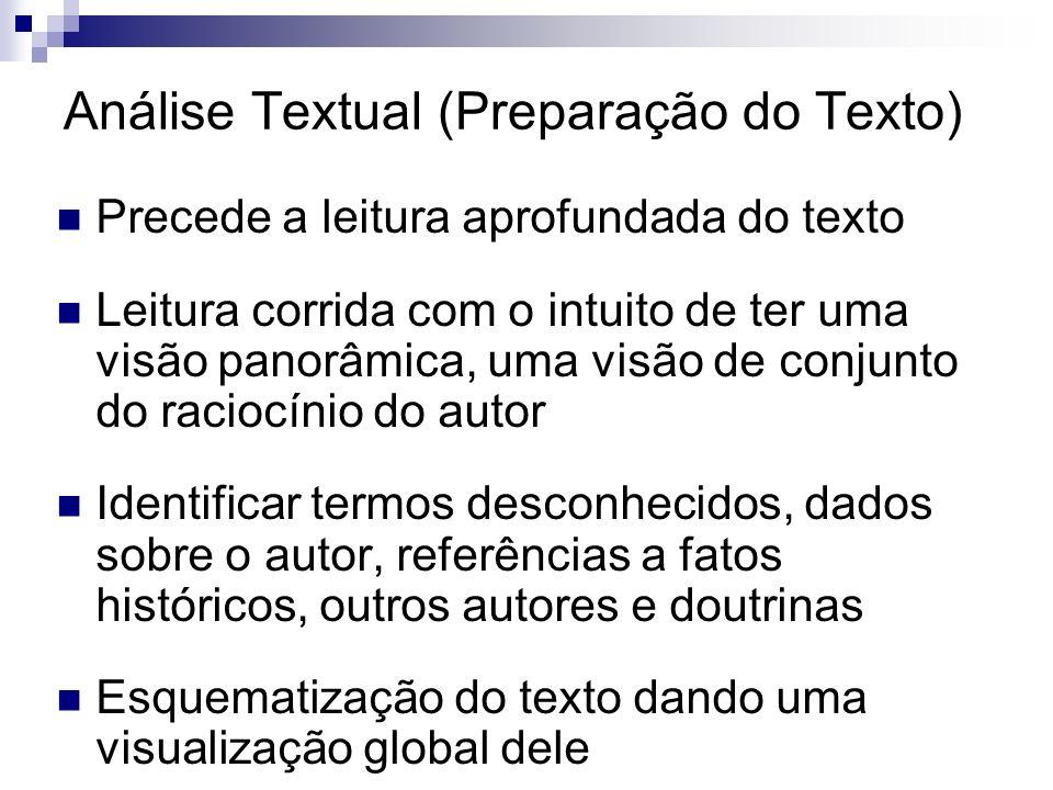 Análise Textual (Preparação do Texto) Precede a leitura aprofundada do texto Leitura corrida com o intuito de ter uma visão panorâmica, uma visão de c