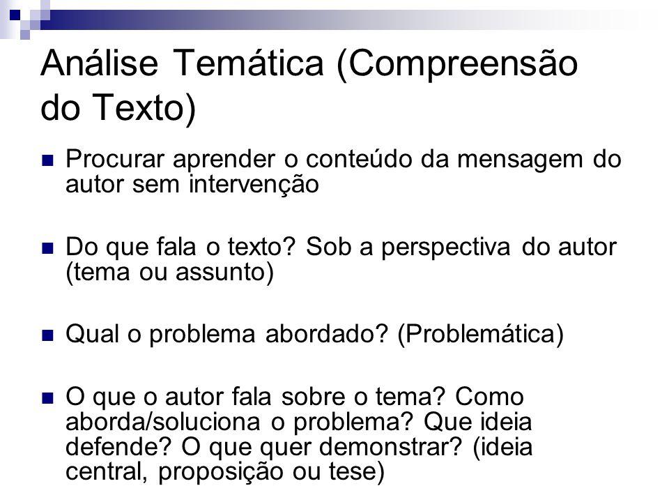 Análise Temática (Compreensão do Texto) Procurar aprender o conteúdo da mensagem do autor sem intervenção Do que fala o texto? Sob a perspectiva do au