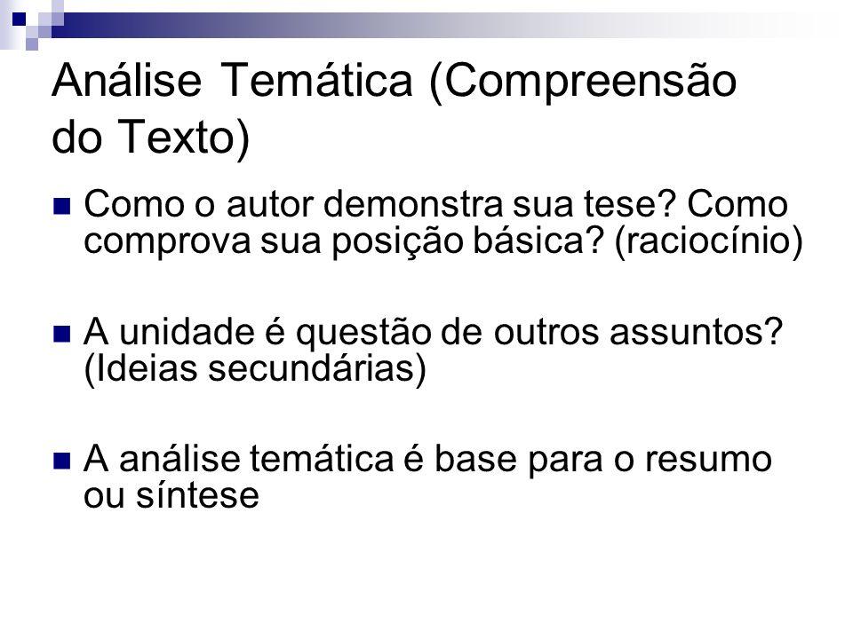 Análise Temática (Compreensão do Texto) Como o autor demonstra sua tese? Como comprova sua posição básica? (raciocínio) A unidade é questão de outros