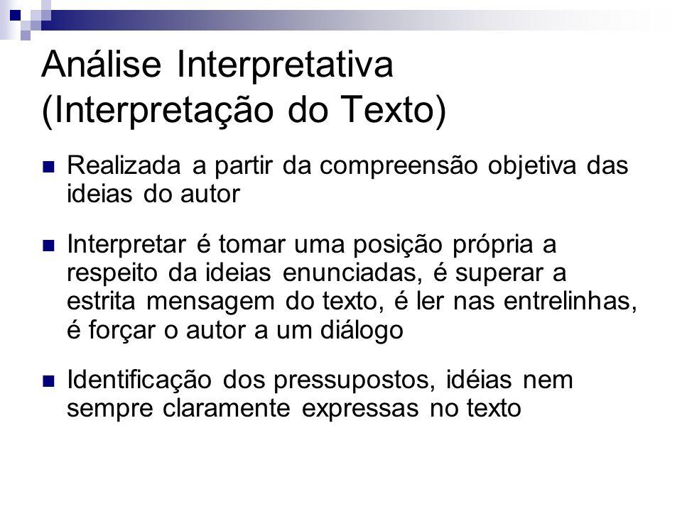 Análise Interpretativa (Interpretação do Texto) Realizada a partir da compreensão objetiva das ideias do autor Interpretar é tomar uma posição própria