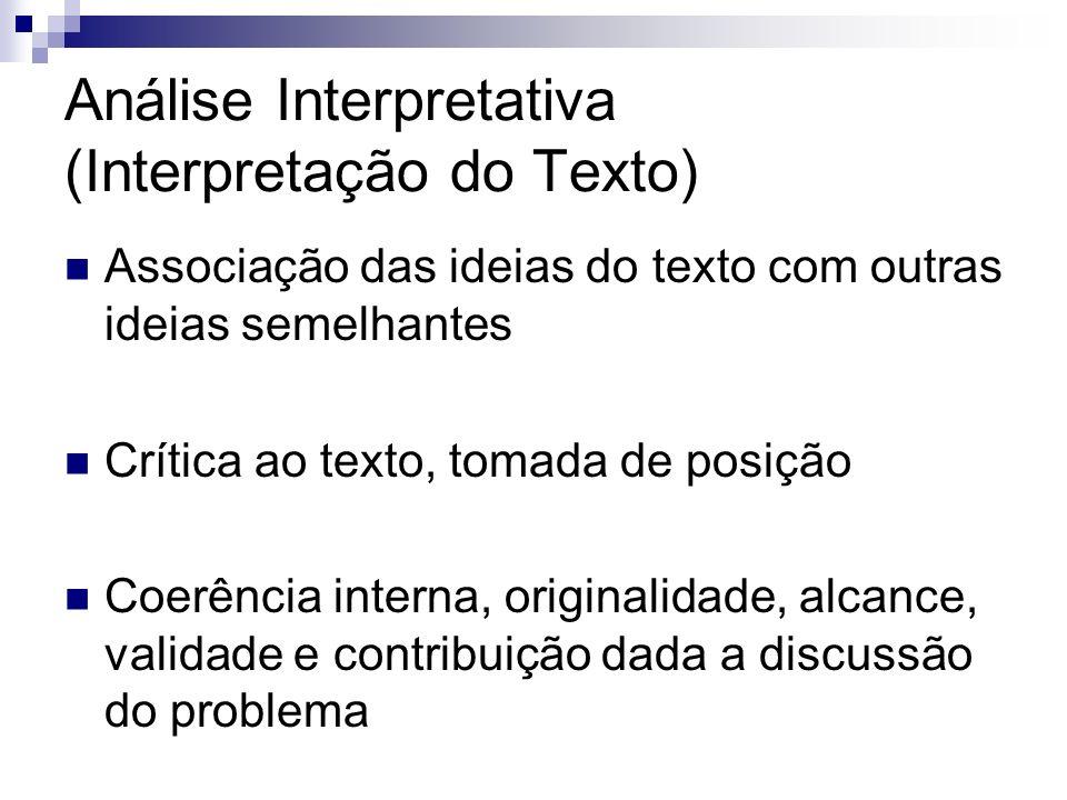 Análise Interpretativa (Interpretação do Texto) Associação das ideias do texto com outras ideias semelhantes Crítica ao texto, tomada de posição Coerê