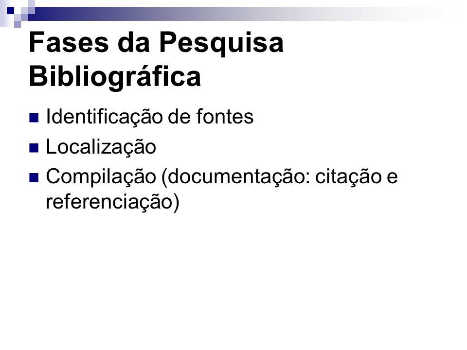 Fases da Pesquisa Bibliográfica Identificação de fontes Localização Compilação (documentação: citação e referenciação)