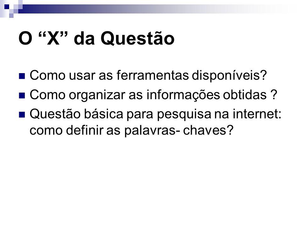 O X da Questão Como usar as ferramentas disponíveis? Como organizar as informações obtidas ? Questão básica para pesquisa na internet: como definir as